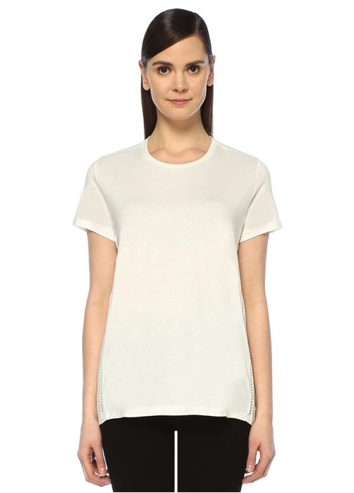 Beyaz Arkası Poplin Garnili Dantel Biyeli T-shirt