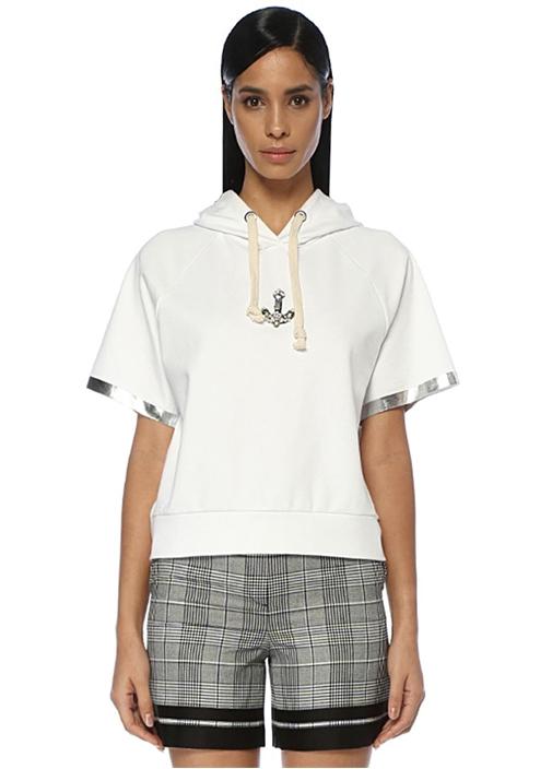 Beyaz Kapüşonlu Çapa Detaylı Kısa Kol Sweatshirt