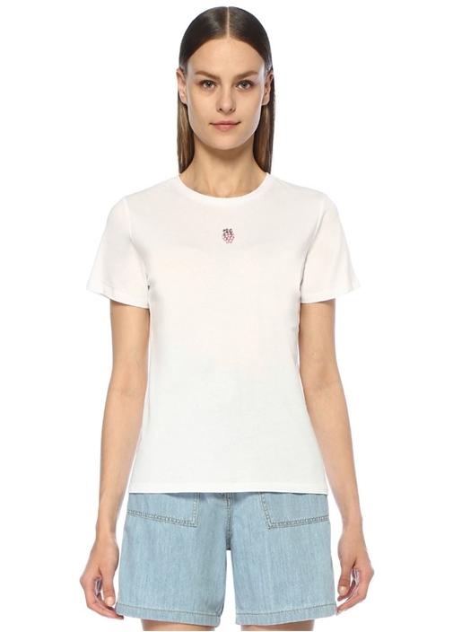 Beyaz Bisiklet Yaka Taş Ananas Detaylı T-shirt