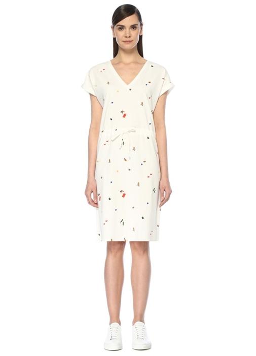 Beyaz V Yaka Nakışlı Midi Jarse Elbise