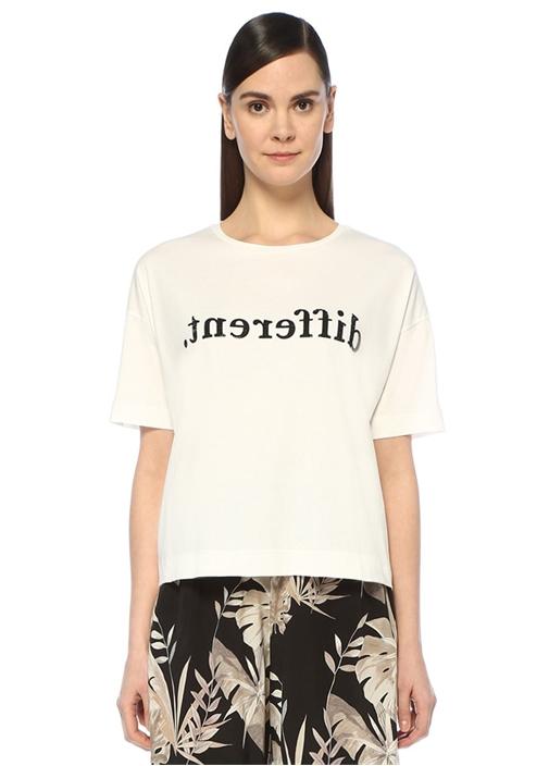 Beyaz Taş İşlemeli Yazılı Düşük Kol T-shirt