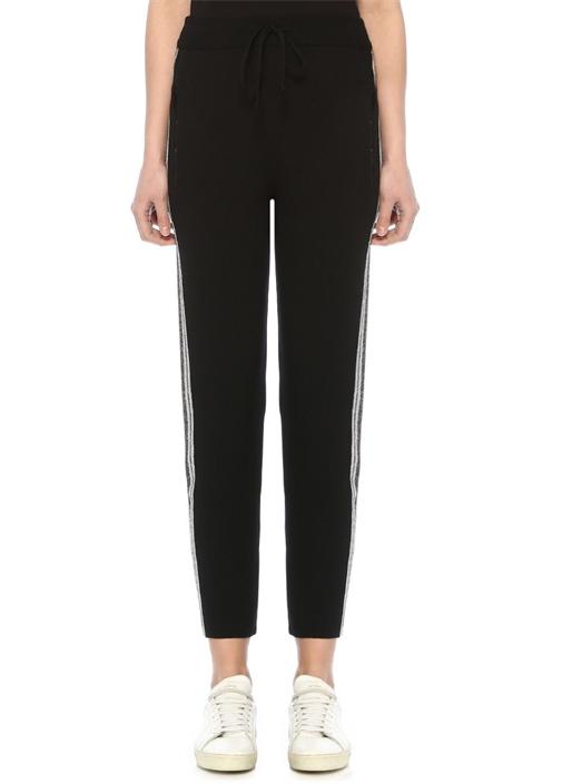 Siyah Yüksek Bel Simli Şeritli Triko Spor Pantolon