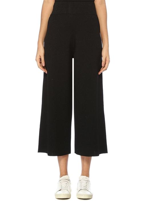 Siyah Yüksek Bel Simli Bol Paça Triko Pantolon