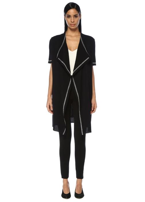 Siyah Şal Yaka Simli Şeritli Kısa Kol Uzun Hırka