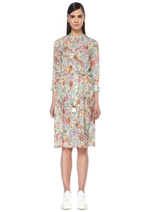 Renkli Şal Desenli Beli Büzgülü Midi Elbise