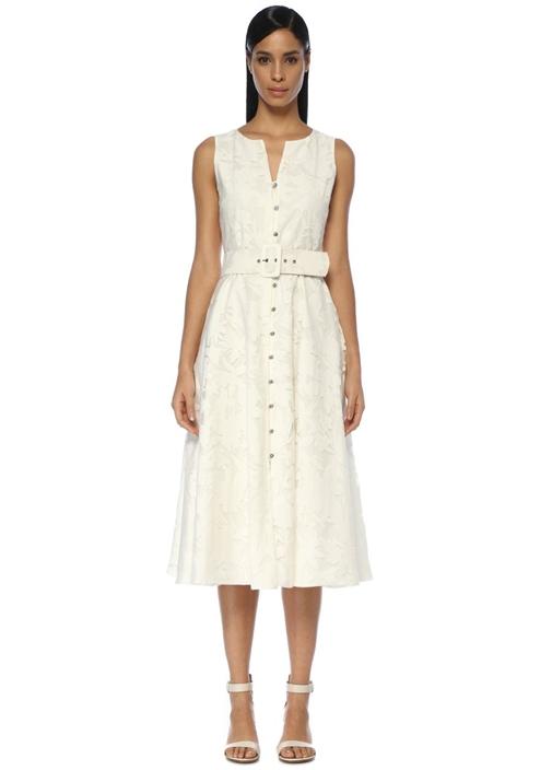 Beyaz Taş Düğmeli Kemerli Kolsuz Midi Elbise