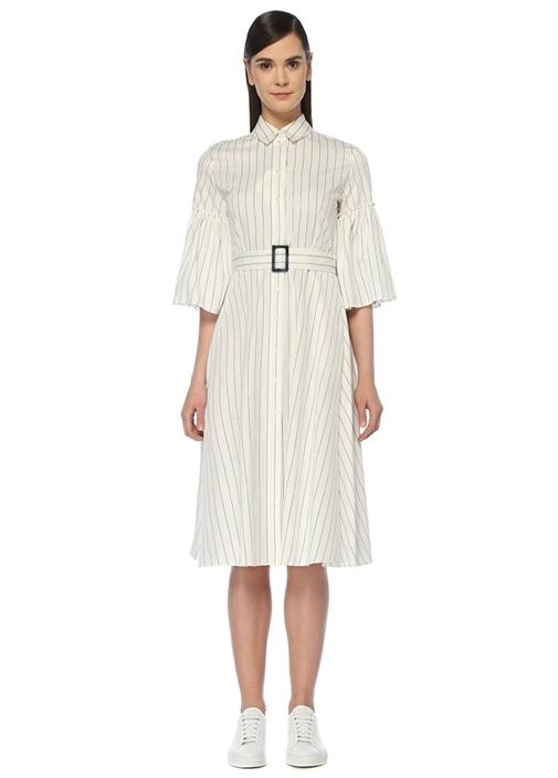 Beyaz Çizgili Kolu Büzgülü Midi Gömlek Elbise