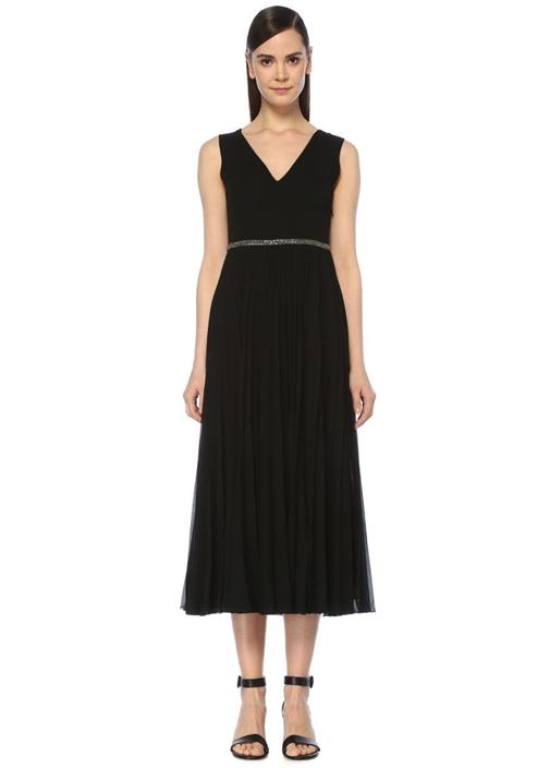 Siyah V Yaka Pileli Midi Krep Abiye Elbise
