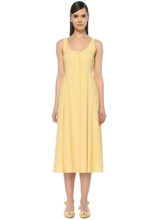 Sarı Pötikareli Sırtı Bağcık Detaylı Midi Elbise