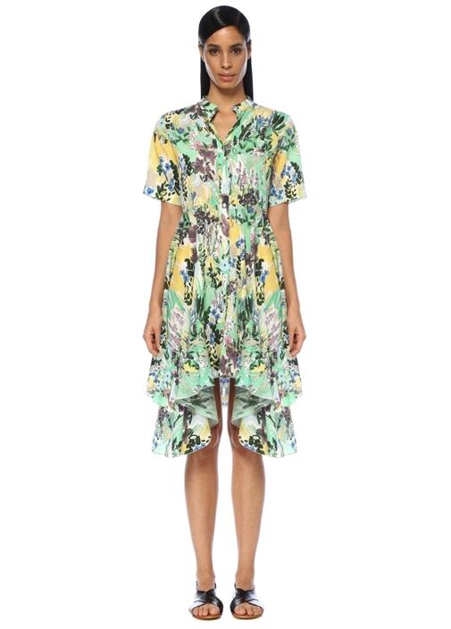 Botanik Desenli Asimetrik Midi Gömlek Elbise