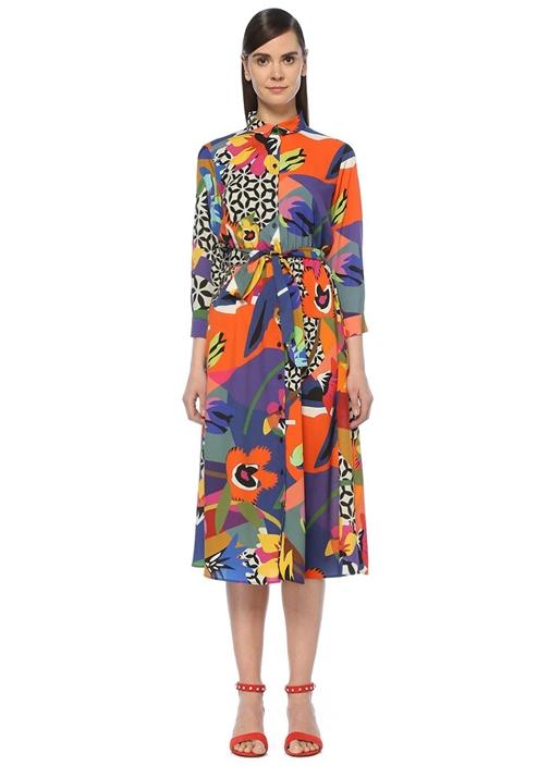 Renkli Pop Desenli Beli Kuşaklı Midi Gömlek Elbise