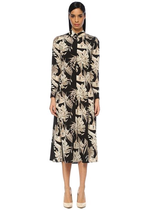 Siyah Bej Çiçek Desenli Midi İpek Gömlek Elbise