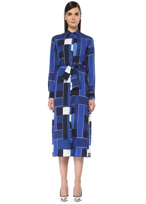 Mavi Geometrik Desenli Midi Gömlek Elbise