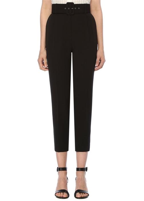 Siyah Yüksek Bel Kemerli Pile Detaylı Pantolon