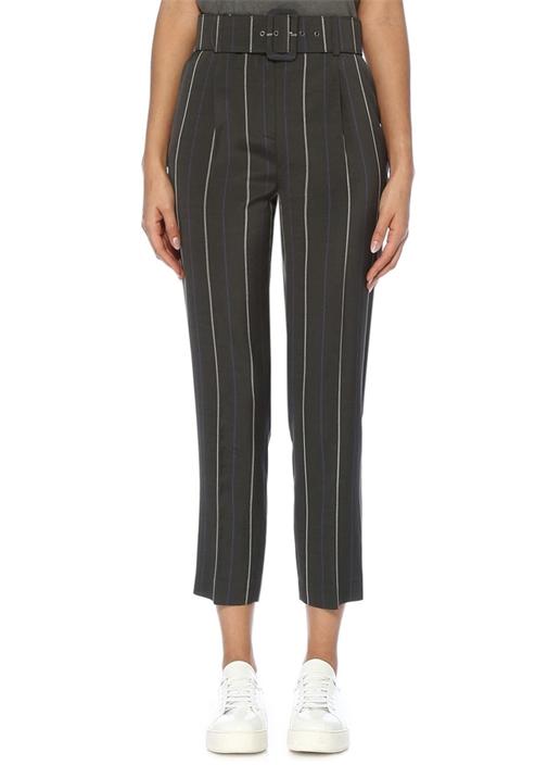 Gri Yüksek Bel Çizgili Beli Kemerli Pantolon