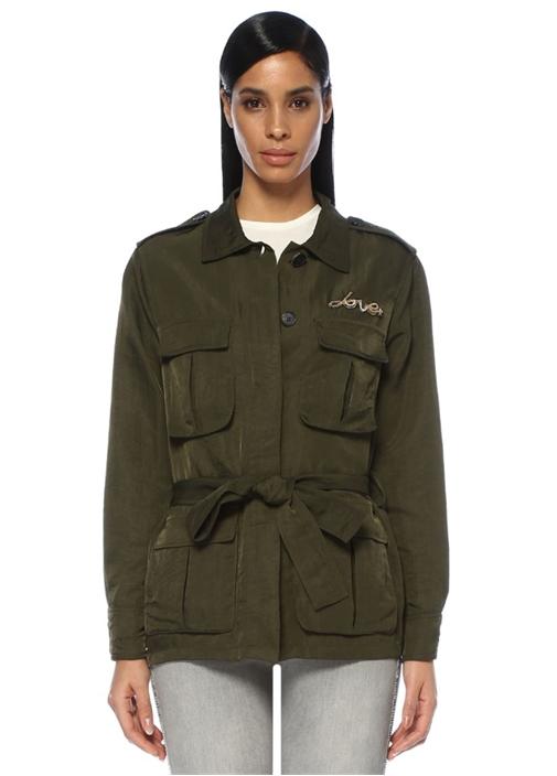 Haki Nakış Detaylı Teknik Kumaş Safari Ceket