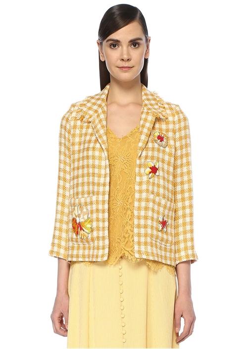 Sarı Kelebek Yaka Ekoseli İşlemeli Tweed Ceket