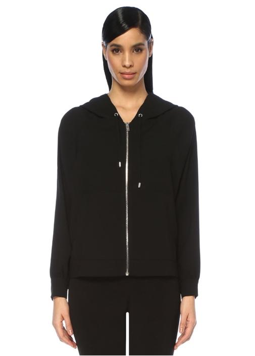 Siyah Kapüşonlu Sweat Formlu Yanı TaşlıKrep Ceket