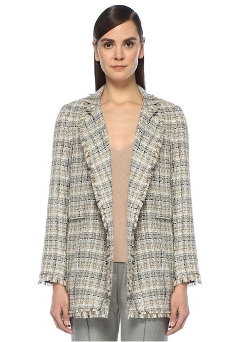 Bej Şal Yaka Uzun Tweed Ceket