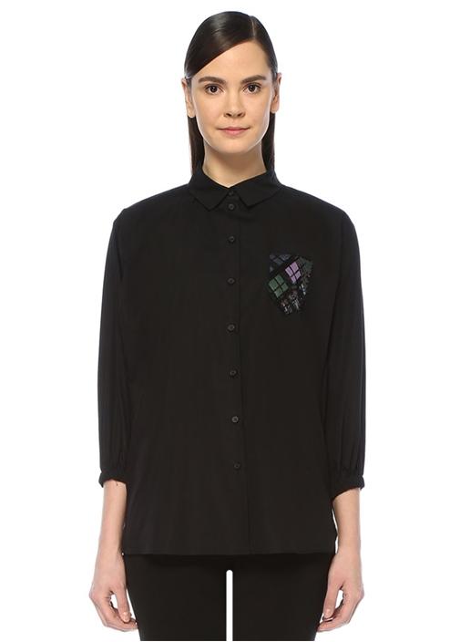Siyah Cebi İşlemeli Bol Poplin Gömlek