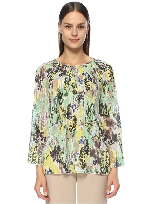 Botanik Desenli Pileli Uzun Kol Şifon Bluz