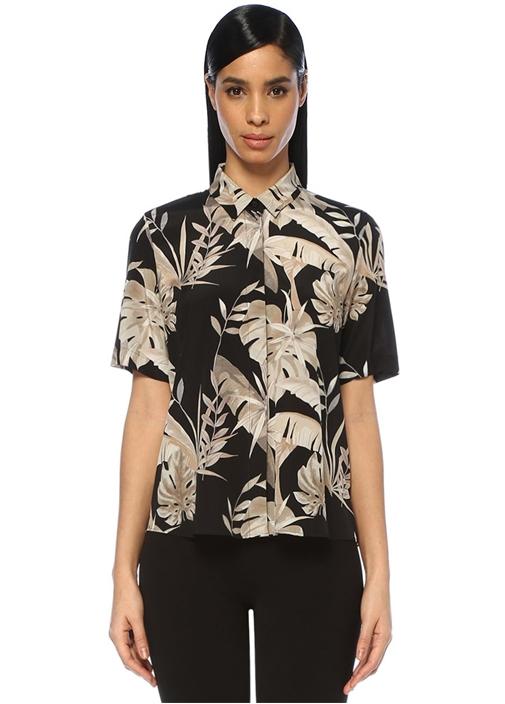 Siyah Tropikal Desenli Yarım Kol İpek Gömlek