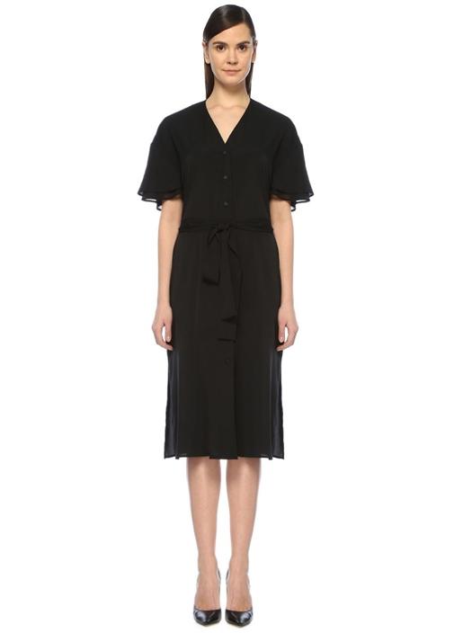 Siyah Kolu Volanlı Kuşaklı Midi Gömlek Elbise