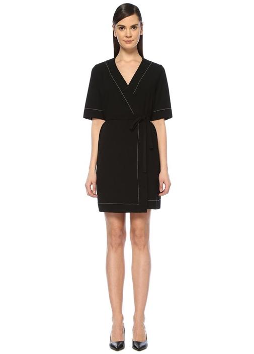 Siyah Kontrast Dikişli Mini Krep Anvelop Elbise