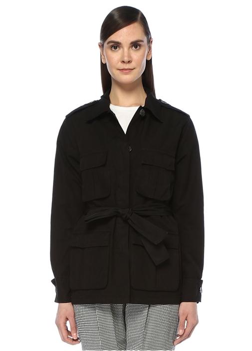 Siyah Sırtı Nakış Detaylı Kuşaklı Safari Ceket