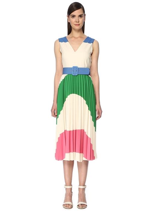 Ekru V Yaka Dalga Desenli Kemerli Midi Elbise