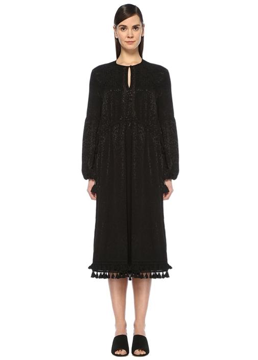 Siyah Jakarlı Etek Ucu Püsküllü Midi Elbise
