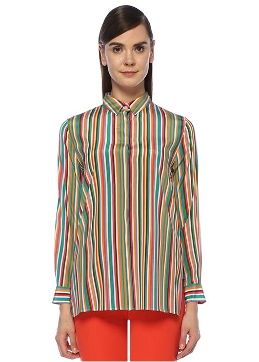 İngiliz Yaka Renkli Çizgili İpek Gömlek
