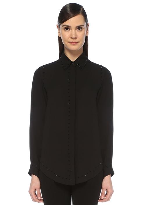 Siyah Oval Kesim Taş Detaylı Krep Gömlek
