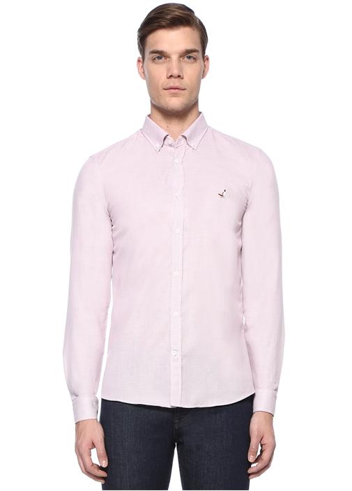 XSlim Fit Bordo Artı Armürlü Gömlek