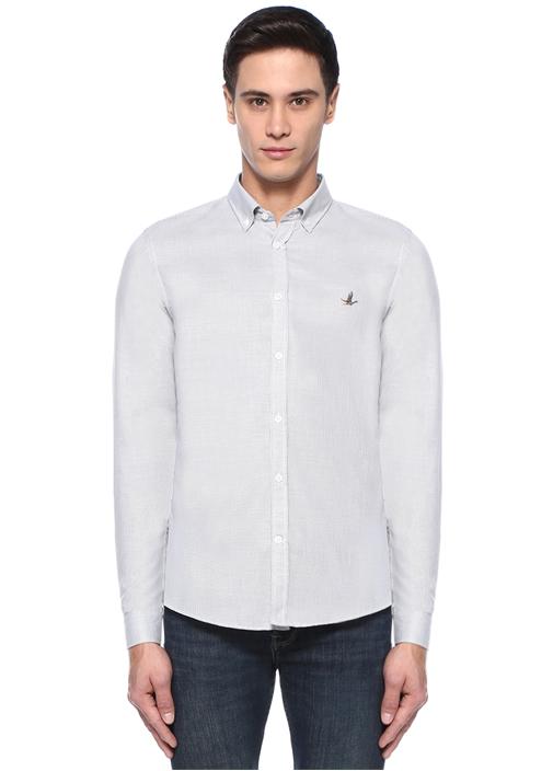 XSlim Fit Beyaz Artı Armürlü Gömlek