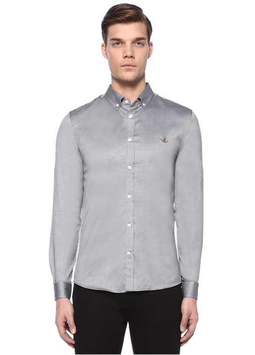 XSlim Fit Siyah Beyaz Mikro Kare Armürlü Gömlek