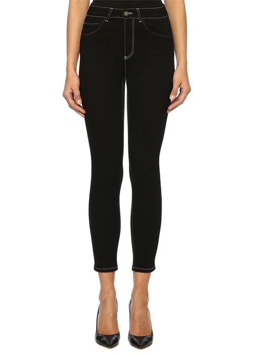 Siyah Yüksek Bel Dikişli Skinny Jean Pantolon