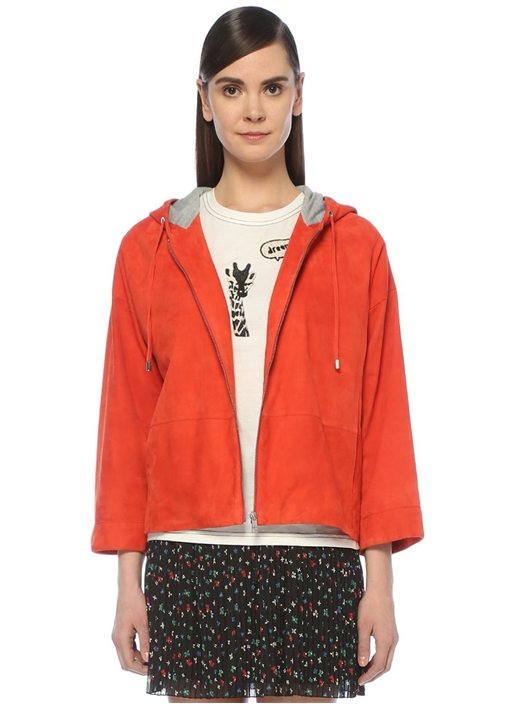 Kırmızı Kapüşonlu Sweatshirt Formlu Süet Ceket