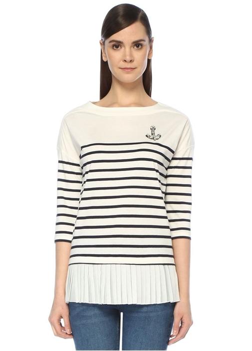 Beyaz Çizgili Ucu Pileli Truvakar Kol T-shirt