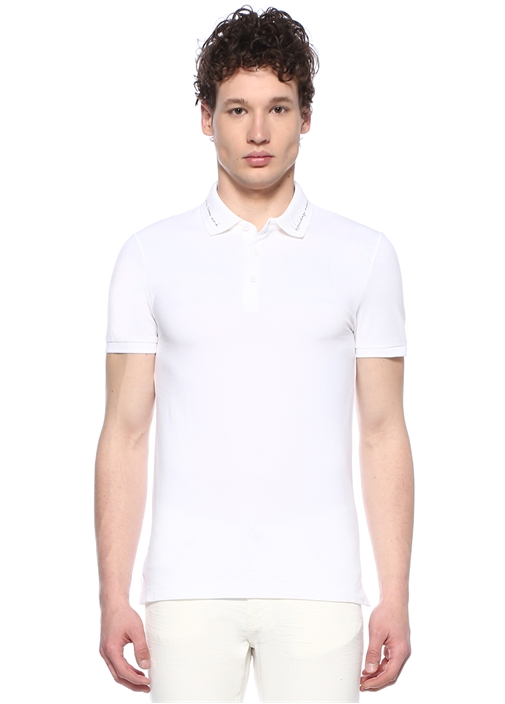 Slim Fit Beyaz Sloganlı Polo Yaka T-shirt