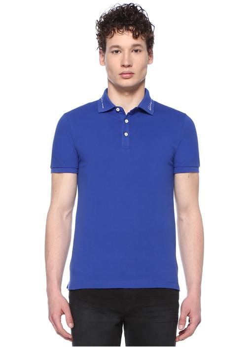 Slim Fit Lacivert Sloganlı Polo Yaka T-shirt