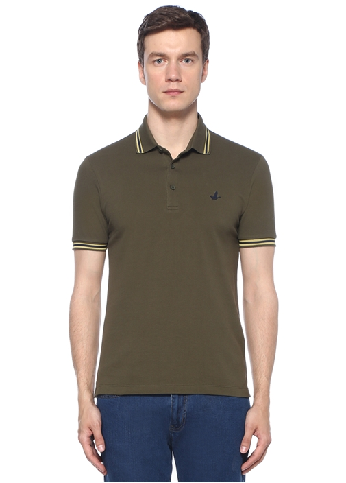 Slim Fit Haki Polo Yaka Logolu T-shirt