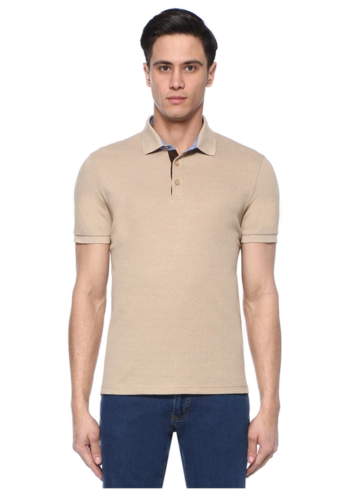 Slim Fit Bej Polo Yaka Dokulu Oxford T-shirt