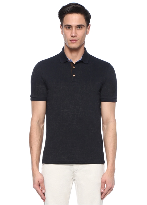 Slim Fit Lacivert Polo Yaka Dokulu Oxford T-shirt