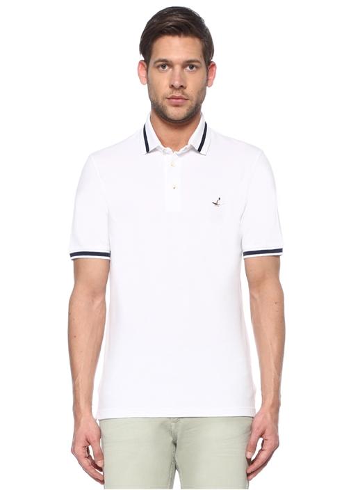 Comfort Fit Beyaz Logo Nakışlı Polo Yaka T-shirt