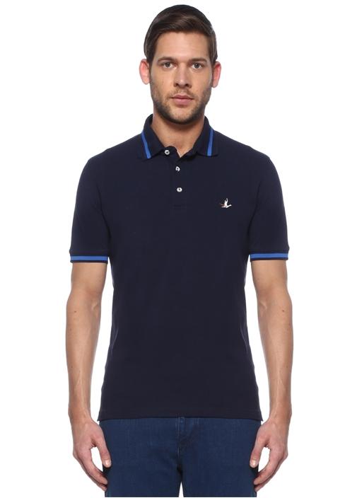 Comfort Fit Lacivert Çizgi Detaylı T-shirt