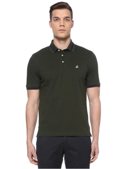 Comfort Fit Haki Polo Yaka Şeritli T-shirt