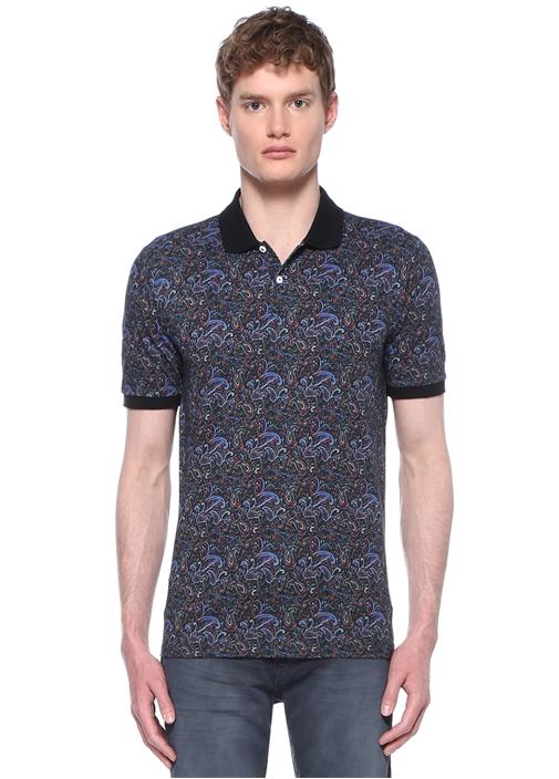 Comfort Fit Polo Yaka Siyah Şal DesenliT-shirt