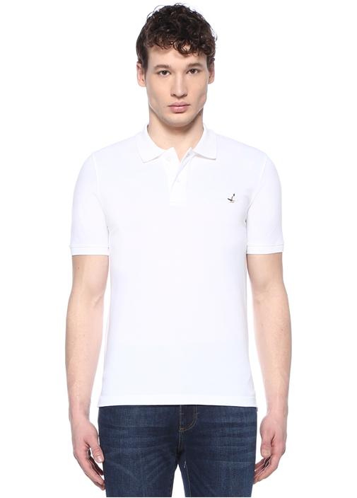 Comfort Fit Beyaz Polo Yaka Kuş Logolu T-shirt