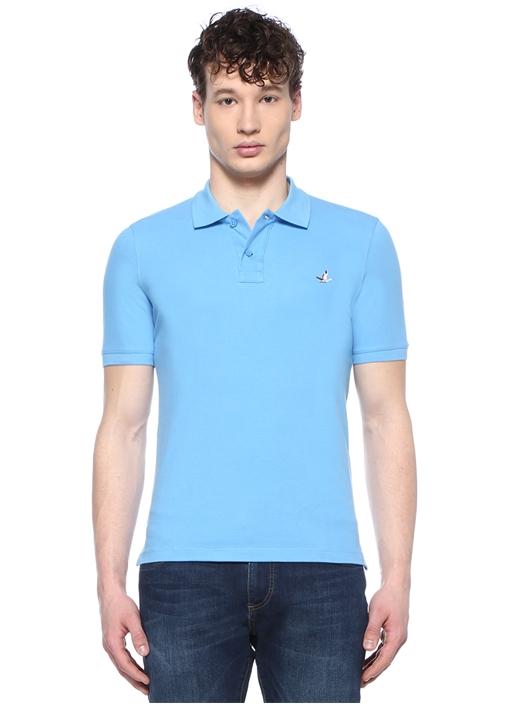 Comfort Fit Mavi Polo Yaka Kuş Logolu T-shirt